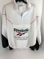 Reebok Printemps & Été / 1895 Mens Anorak Pullover Jacket Large White Half Zip