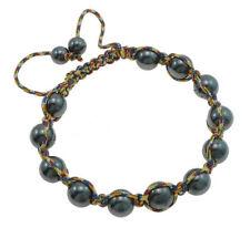 shamballa adjustable bracelet with hematite beads and multicoloured nylon cord