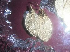 NEW Vintage 100% Gold dip Dipped Skeleton leaf Earring Charm Wire pierced RARE