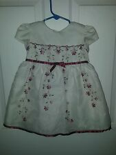 George Toddler Girl Cream Dress Red Flowers Matching Diaper Cover Size 24 Months