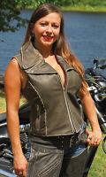 Women's Rivet Trim Vintage Brown Leather Motorcycle Zip Vest #VLA2037R - Size 2X