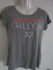 Gilly Hicks Women Top Tee Shirt Gray embroidered in White-Pink Size XS