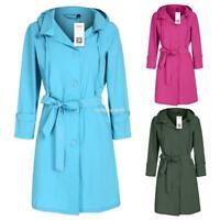 Women militray green polka dot lapel Hooded Trench Parka rain Coat Long outwear