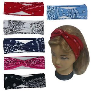 3 PCS Assorted Bandanna Print Headband Women's Yoga Hair Wrap Paisley Twisted