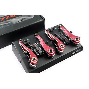 TRP CX9 Cyclocross Mountain Bike Mini V Linear Pull Brake Front & Rear Set - RED
