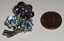 Beautiful Silver Pin Brooch with Blue Crystal Flower Design FREE SHIPPING