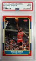 2009 UD Gold Legacy #97 Michael Jordan Rookie RC 1986 Fleer Retro, Low Pop PSA 9