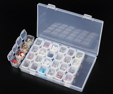 28 Slots Clear Adjustable Jewelry Storage Box Case Craft Organizer Beads Holder