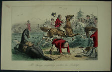 c1870 Fox Hunting Horse Hound John Leech Hand Coloured Steel Engraving Print