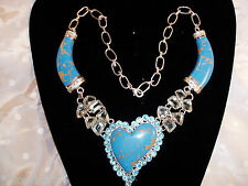 New Copper Turquoise, Green Amethys 925 Silver Setting, Bib Heart Necklace