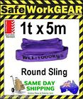 1 Tonne 5 Metre Round Lifting Sling Purple Polyester to Aus Standards