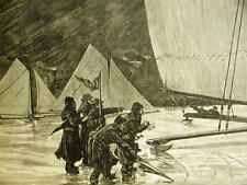 ICE YACHT REGATTA RACE in POUGHKEEPSIE 1884 Antique Art Matted
