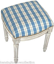 STOOLS - NANTUCKET SHORES UPHOLSTERED STOOL -  VANITY SEAT - BLUE PLAID CUSHION