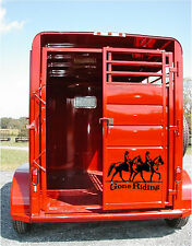 Gone Riding Horse Trailer Decal Stickers 12X19 Livestock Horses Sticker Decals