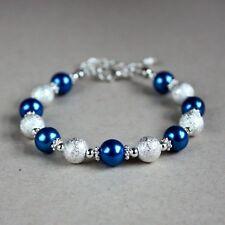 Silver stardust dark blue pearls beaded bracelet wedding bridesmaid jewellery