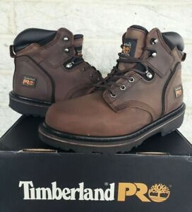 """Timberland PRO Mens Pit Boss 6"""" Soft Toe Work Boots Brown Size 9 Wide 33046"""