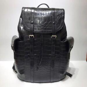 Handcrafted Alligator Crocodile Skin Leather Backpack Shoulder Bag Travel Bag