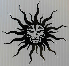 Blazing tribal sun stickers/car/van/bumper/window/decal laptop fridge 5358 black