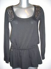 Replay 'W5967' L/S open back studded peplum top S