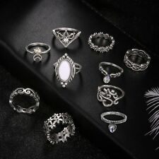 HOT Retro 10Pcs/ Set Silver Boho Fashion Gem Moon Midi Finger Knuckle Rings Gift