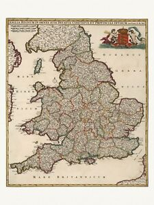 Old Antique Decorative Map of England Wales UK de Wit ca. 1682