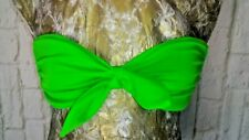 Small VICTORIAS SECRET Padded BANDEAU BIKINI TOP Bright Neon Green Knot Front