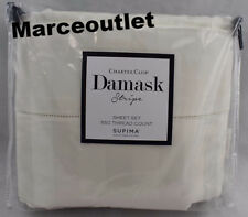 Charter Club Damask Stripe 550 Thread Count KING EXTRA DEEP Sheet Set Ivory