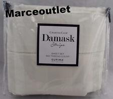 Charter Club Damask Stripe 550 Thread Count QUEEN EXTRA DEEP Sheet Set Ivory
