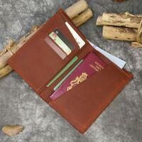 Bifold Passport Leather Wallet Card Holder Travel Men Women Ticket Purse Pouch