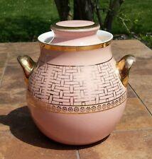 Vintage Hall's Kitchenware Mid Century Modern Deco Pink Gold Pattern Cookie Jar