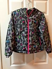 Girls Polar Edge Reversible Black w/ Multi Colore Hooded Jacket Size Large L EUC