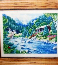 "Desidn Works Counted Cross Stitch Kit ""By A River "" DWC#2373 Mountains Cabin NOS"