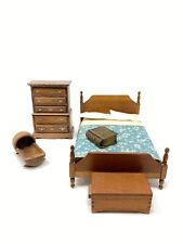 Vintage Dollhouse Miniature Bedroom Furniture Set with Accessories