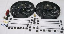 """Dual 14"""" HD Universal Electric Radiator Cooling Fans + Thermostat  & Mount Kit"""