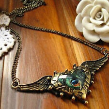 Elegant Heart Peacock Feather Rhinestone Angel Wing Chain Bib Necklace Jewelry