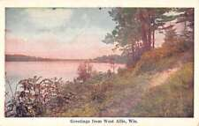 West Allis Wisconsin Scenic Waterfront Greeting Antique Postcard K82590