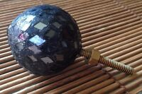 "Black Rhinestone Ball Cabinet Drawer Knob Clear Crystal  1 1/2""  Formal Classy"