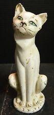 "Vintage Cast Iron Sitting White Cat Door Stop Hubley 10"" x 3.75"" Very Good Cond"