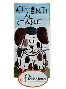 Mattonella ornamentale in ceramica attenti al cane da parete dipinta a mano ma25