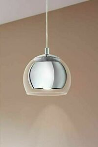Eglo 94592 Rocamar Ceiling Pendant Light In Chrome With Clear Glass Shade