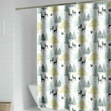 Polyester Shower Curtain Deer Printed Waterproof Bath Curtains with Rings