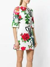New Dolce & Gabbana Rose and Coffee Pot Print Broccade Dress -  36 Italy
