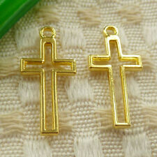 Free Ship 140 pieces gold plated cross charms 23x11mm S-4674