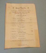 1888 Ladies Aid Presbyterian Church Concert Program Chicago Woodlawn Park Hall