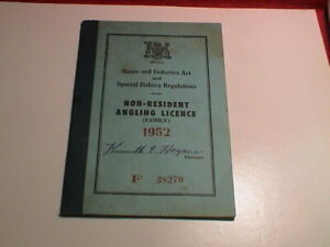 1952 ONTARIO CANADA NATURAL RESOURCES NON RESIDENT FISHING ANGLING BOOK LICENSE