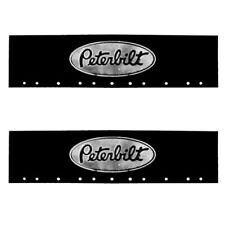 "Peterbilt Black & Silver 6"" x 24"" Semi Truck Mud Flap-quarter Fender Flaps-Pair"