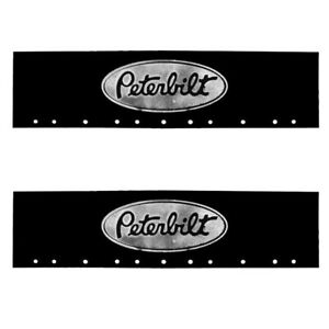 "Peterbilt Black & Silver 6"" x 24"" Semi Truck Mud Flap-quarter Fender Flaps-Pair"