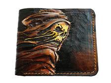 Men's 3D Genuine Leather Wallet, Hand-Carved, Hand-Painted, Skull, Skeleton