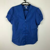 Richard Malcolm Linen Blouse Size S Embroidered Short Sleeve Button Front Top