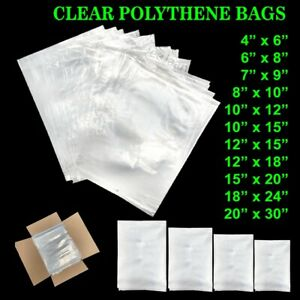 CLEAR FOOD PLASTIC POLYTHENE BAG USE FREEZER STORAGE BAGS - VARIOUS SIZES & QTYS